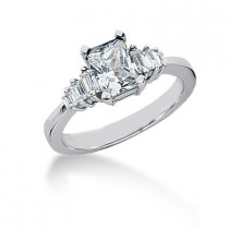 Ultra Thin Platinum Ladies Diamond Ring 1.28ct