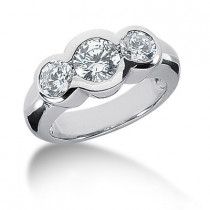 Thin Platinum Ladies Diamond Ring 1.30ct