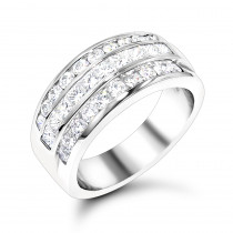 Platinum Ladies Diamond Ring 2 Carat Round & Princess Diamonds Band