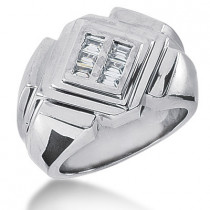 Platinum Men's Baguette Diamonds Ring 0.48ct