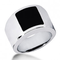 Platinum Men's Black Onyx Ring