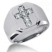 Platinum Men's Diamond Cross Ring 0.60ct