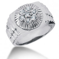 Platinum Men's Diamond Ring 0.52ct