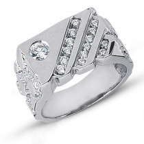 Platinum Men's Diamond Ring 0.63ct
