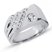 Platinum Men's Diamond Ring 0.71ct