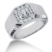 Platinum Men's Diamond Ring 0.73ct