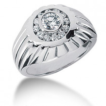 Platinum Men's Diamond Ring 0.86ct