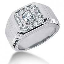 Platinum Men's Diamond Ring 1.28ct