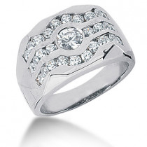 Platinum Men's Diamond Ring 1.34ct