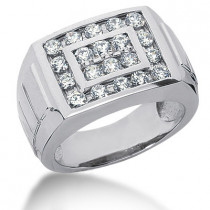Platinum Men's Diamond Ring 1.58ct