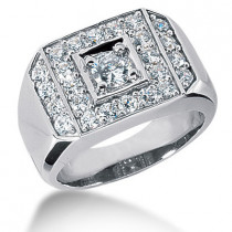 Platinum Men's Diamond Ring 1.70ct