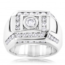 2 Carat Platinum Mens Diamond Ring by Luxurman