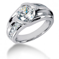 Platinum Mens 3 Carat Solitaire G/VS Diamond Ring