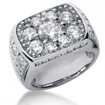 Platinum Men's Diamond Ring 3.42ct