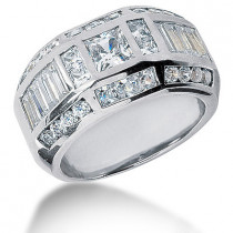 Platinum Men's Diamond Ring 3.53ct