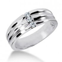 Platinum Men's Diamond Wedding Band 0.18ct