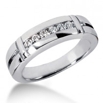 Platinum Men's Diamond Wedding Band 0.28ct