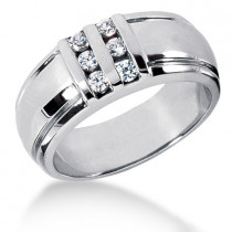 Platinum Men's Diamond Wedding Band 0.30ct