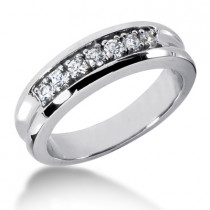 Platinum Men's Diamond Wedding Band 0.49ct