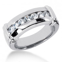 Platinum Men's Diamond Wedding Band 0.70ct