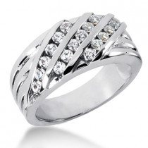 Platinum Men's Diamond Wedding Band 0.72ct