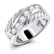 Platinum Men's Diamond Wedding Band 0.91ct