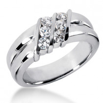 Platinum Men's Diamond Wedding Ring 0.48ct