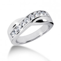 Platinum Men's Diamond Wedding Ring 0.77ct
