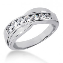 Platinum Men's Diamond Wedding Ring 0.84ct