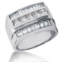 Platinum Men's Princess & Baguette Diamonds Ring 2.44ct