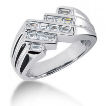 Platinum Men's Princess Diamonds Ring 0.90ct