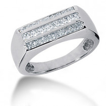 Platinum Men's Princess Diamonds Ring 1.25ct