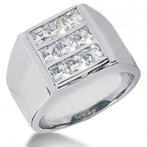 Platinum Men's Princess Diamonds Ring 2.43ct