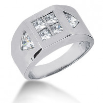 Platinum Men's Princess & Trillion Diamonds Ring 1.38ct