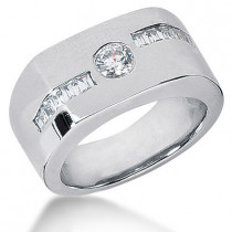 Platinum Men's Round & Baguette Diamonds Ring 0.90ct