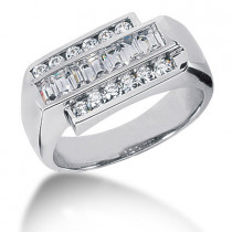 Platinum Men's Round & Baguette Diamonds Ring 0.97ct