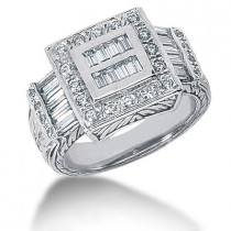 Platinum Men's Round & Baguette Diamonds Ring 1.20ct