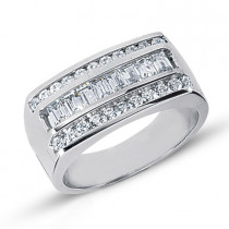 Platinum Men's Round & Baguette Diamonds Ring 1.24ct