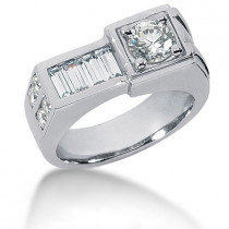 Platinum Men's Round & Baguette Diamonds Ring 1.59ct