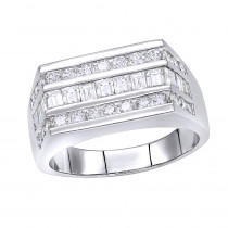 Platinum Men's Round & Baguette Diamonds Ring 1.60ct