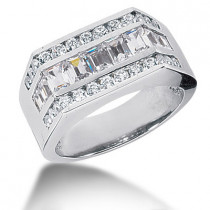 Platinum Men's Round & Baguette Diamonds Ring 2.43ct