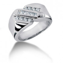Platinum Men's Round & Princess Diamonds Ring 0.49ct