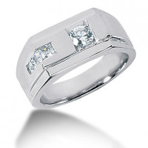 Platinum Men's Round & Princess Diamonds Ring 0.62ct