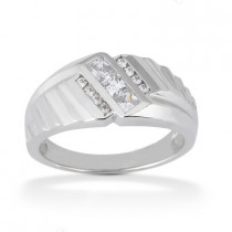 Platinum Men's Round & Princess Diamonds Ring 0.80ct