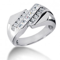 Platinum Men's Round & Princess Diamonds Ring 0.91ct