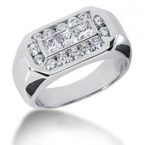 Platinum Men's Round & Princess Diamonds Ring 1.51ct