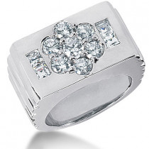 Platinum Men's Round & Princess Diamonds Ring 1.83ct