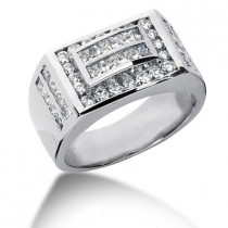 Platinum Men's Round & Princess Diamonds Ring 2.66ct