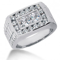 Platinum Men's Round & Princess Diamonds Ring 3.68ct
