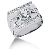 Platinum Men's Round & Princess Diamonds Ring 3.88ct